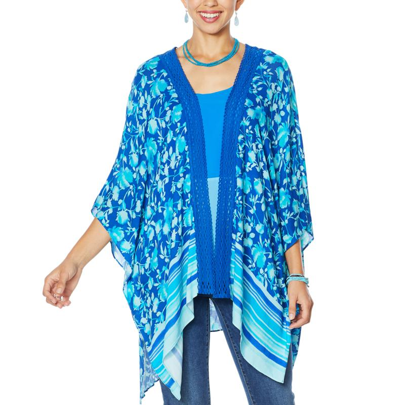 """As Is"" Colleen Lopez Crochet Inset Kimono Topper"