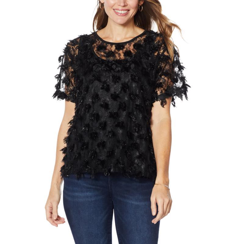 """""""As Is"""" Colleen Lopez Sheer Fringe Top with Cami"""