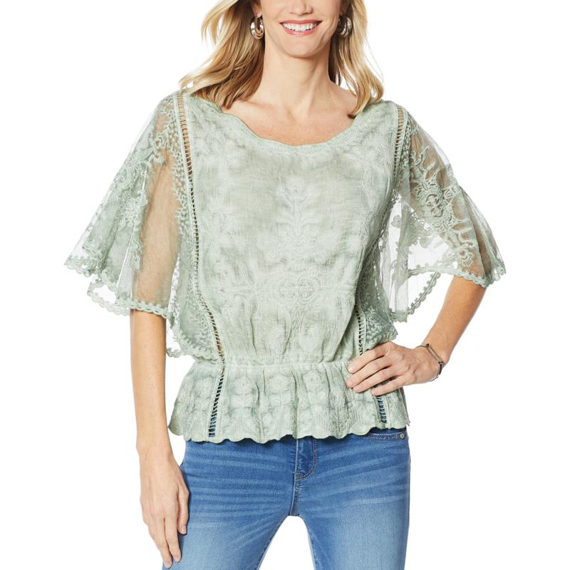 """""""As Is"""" Democracy Mineral Wash Butterfly Sleeve Crochet Top"""