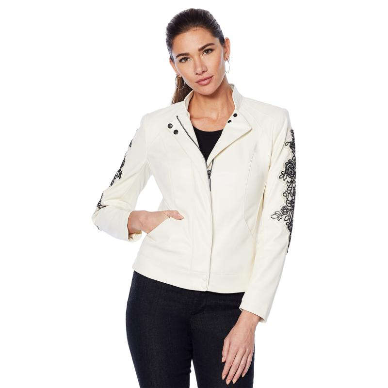 """As Is"" G by Giuliana Faux Leather Embroidered Moto Jacket"
