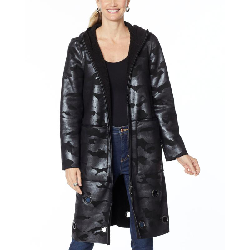 """As Is"" Laurier Reversible Faux Shearling Coat with Grommets"