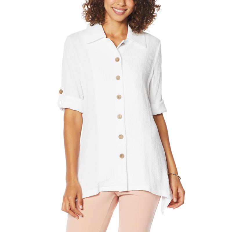 """""""As Is"""" Nina Leonard Collared Tab-Sleeve Tunic"""