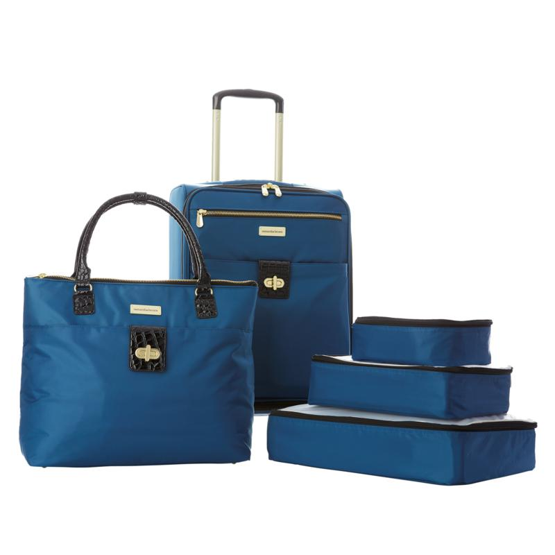 """""""As Is"""" Samantha Brown 5pc Luggage Set with Spinner, Tote and Packi..."""