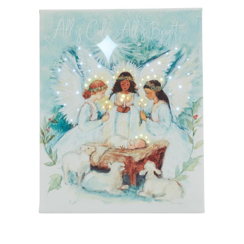 """As Is"" Winter Lane 8"" x 10"" Evergreen Christmas Fiber-Optic Canvas"