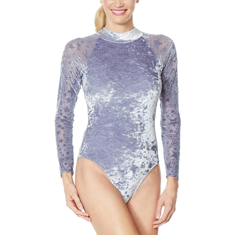 """As Is"" WVVY Long-Sleeve Velour and Mesh Burnout Bodysuit"