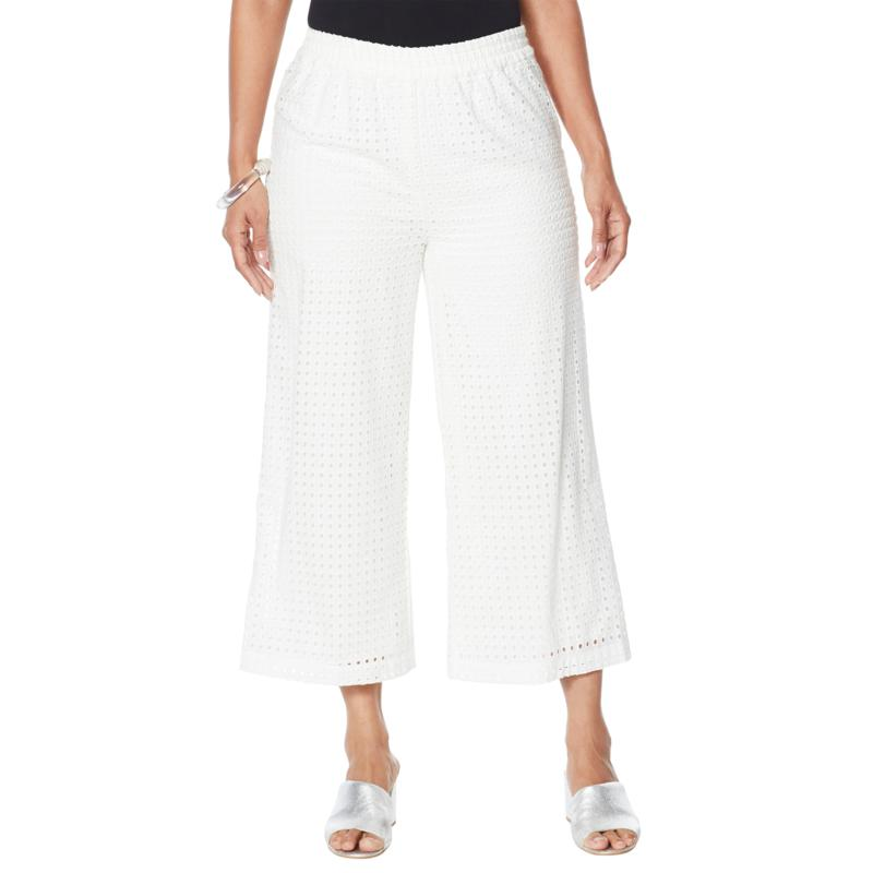 """""""As Is"""" WynneLayers Lined Eyelet Pull-On Crop Pant"""