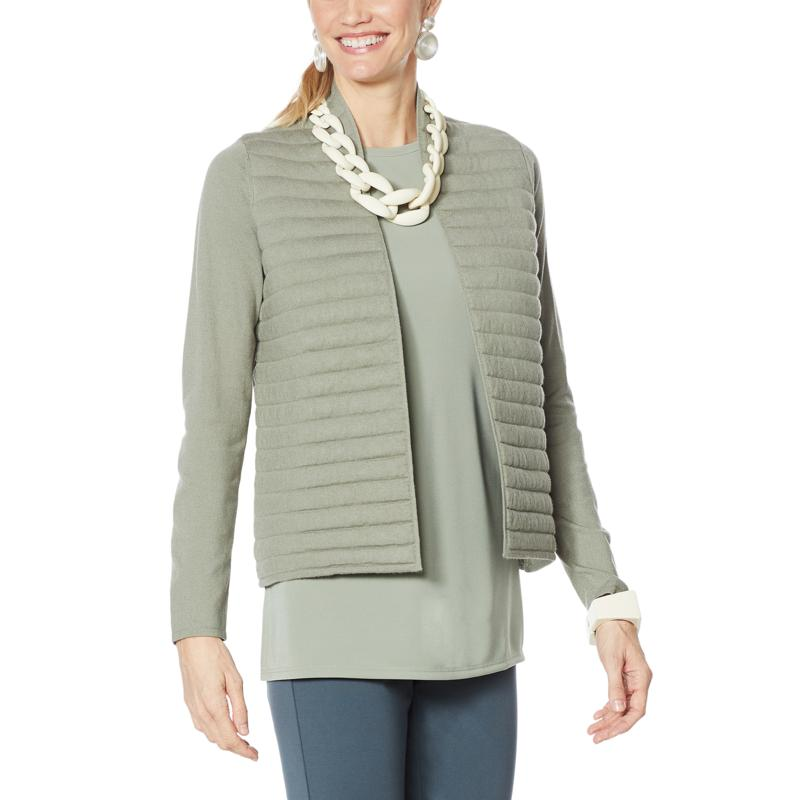 """""""As Is"""" WynneLayers Quilted Soft Knit Sweater Jacket"""