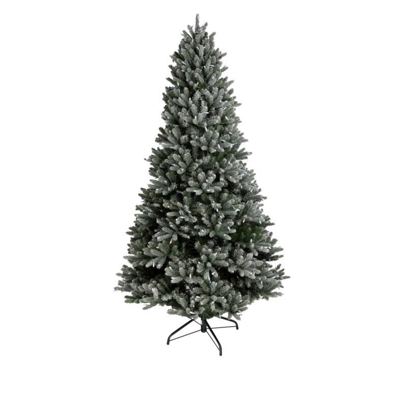 august & leo 7.5' Frasier Fir Flocked Pre-Lit Christmas Tree w/Remote