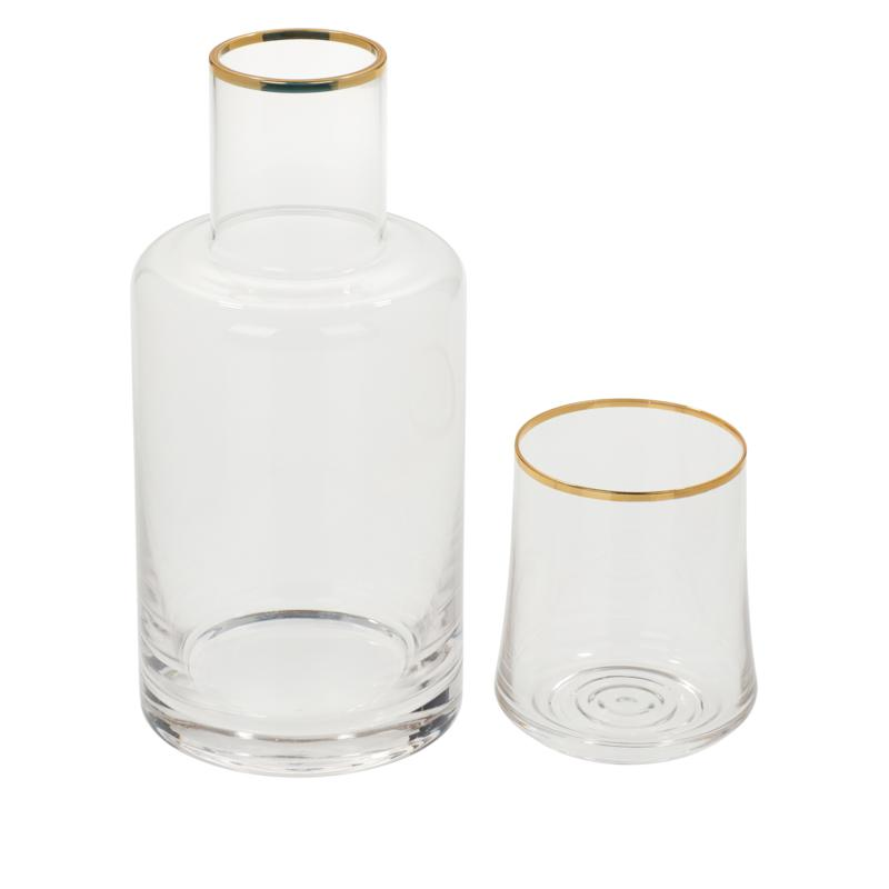 august & leo Gold-Tipped Carafe with Drinking Glass