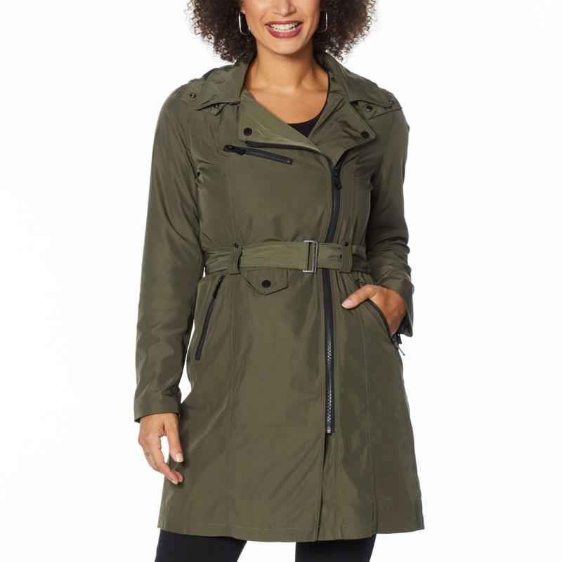 Avec Les Filles Belted Moto Trench with Hooded Neckline