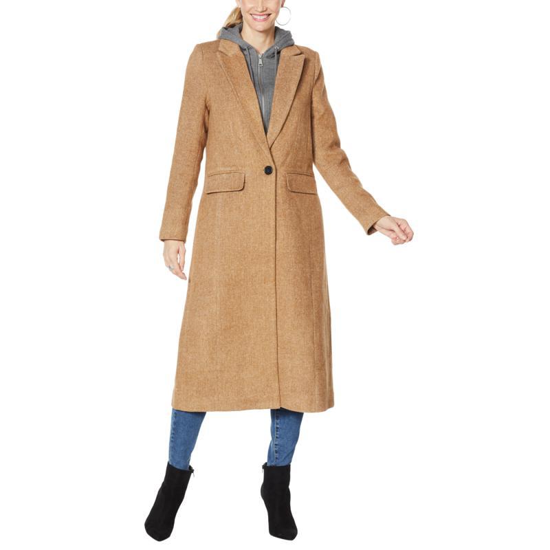 Avec Les Filles Wool-Blend Maxi Coat with Detachable Hood