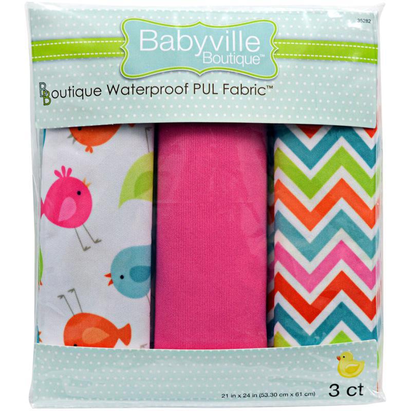 "Babyville PUL Waterproof Diaper Fabric 21"" x 24"" 3-pack"