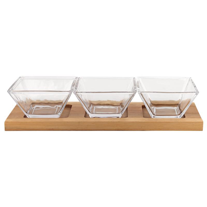 Badash 4-Piece Glass Dip Bowls on a Wood Tray Hostess Set