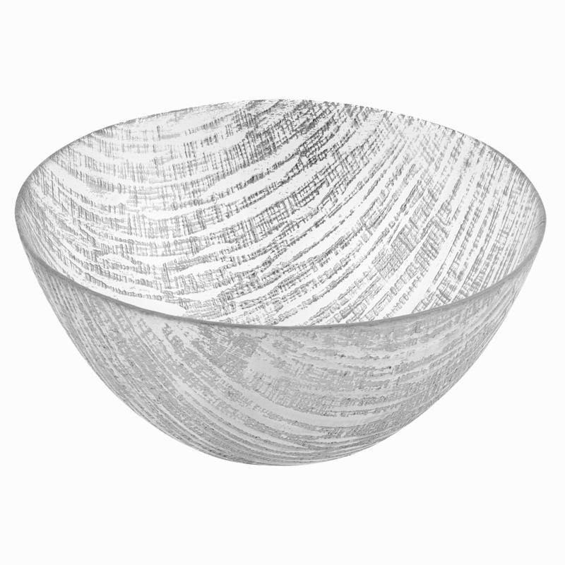 "Badash Secret Treasure Handcrafted Silver Accent Glass Bowl 11""Dia."