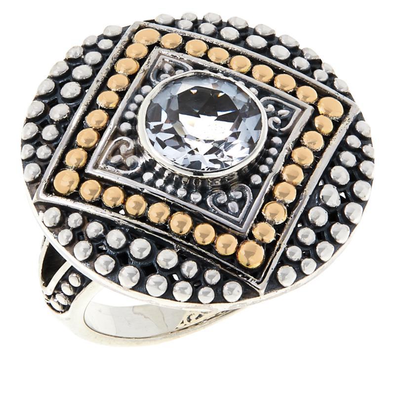 Bali RoManse Sterling Silver and 18K Gemstone Popcorn Pattern Ring