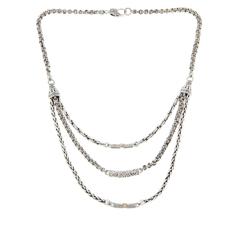 Bali RoManse Sterling Silver and 18K Layered Statement Necklace