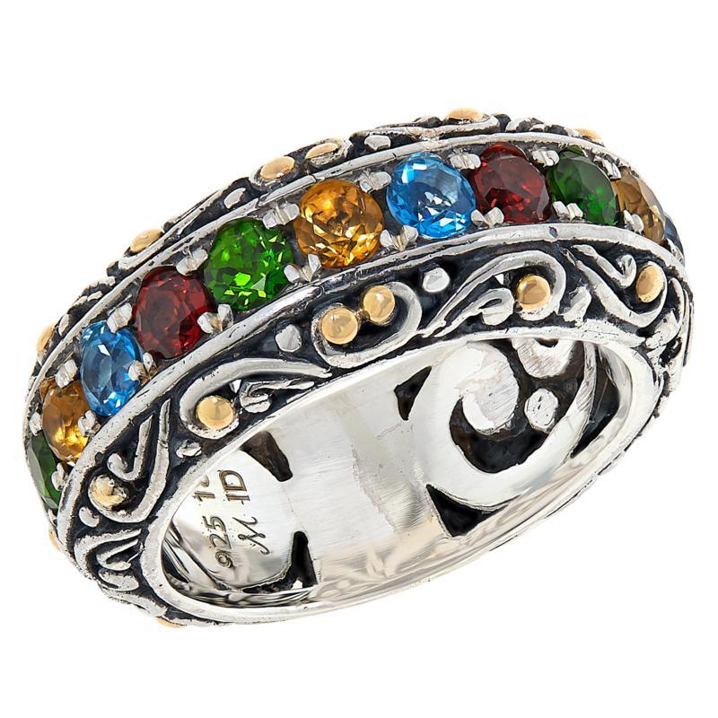 Bali RoManse Sterling Silver & 18K Multigemstone Scrollwork Band Ring