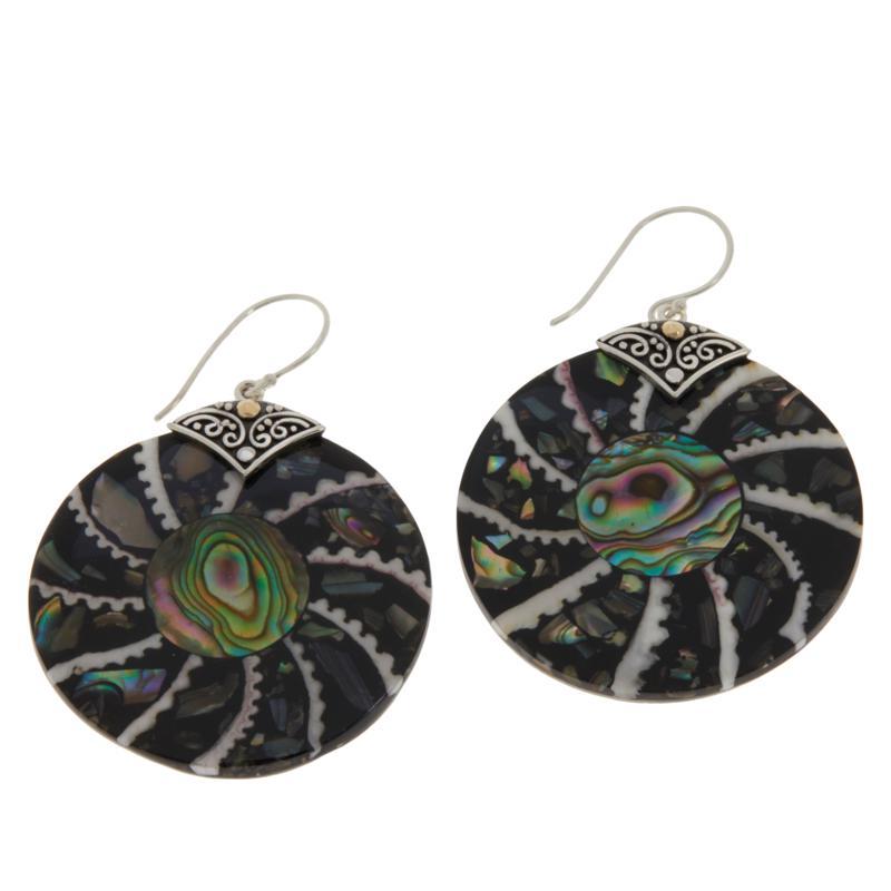 Bali RoManse Sterling Silver Round Mosaic Shell Drop Earrings