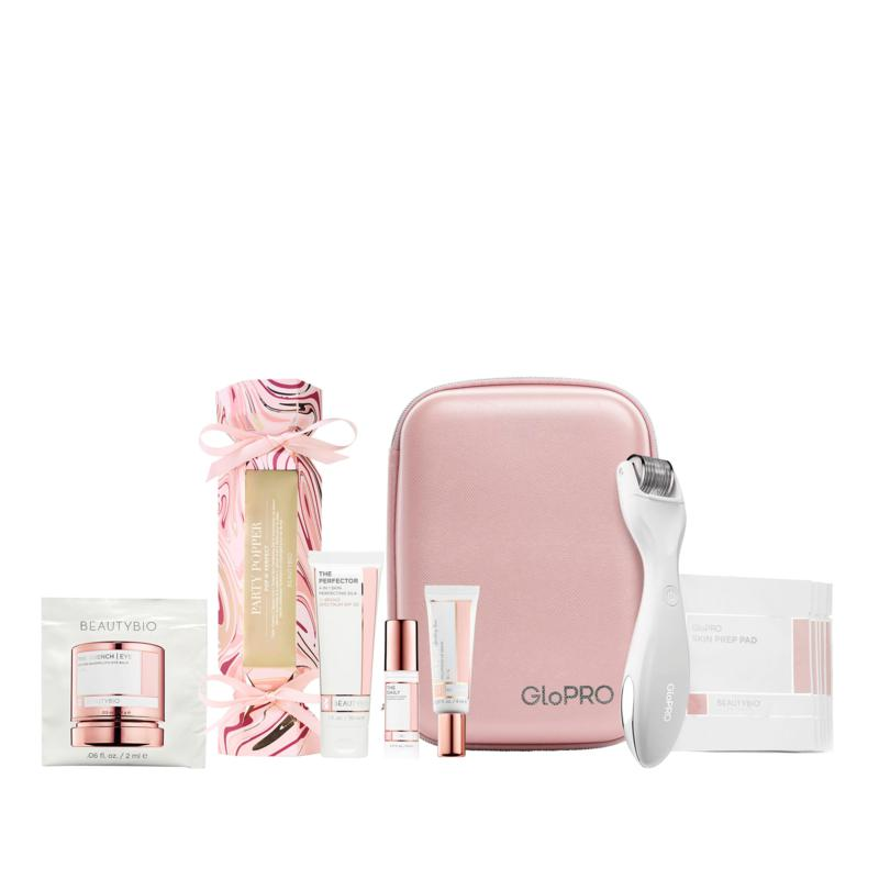 BeautyBio White GloPRO Tool & Skincare Gift Set with Organizer