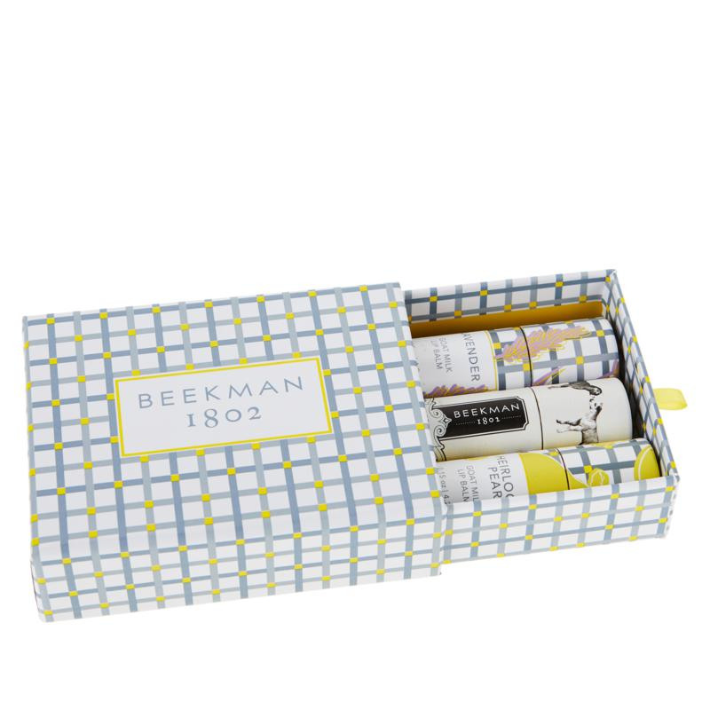 Beekman 1802 Goat Milk Lip Balm 3-Piece Collection with Gift Box