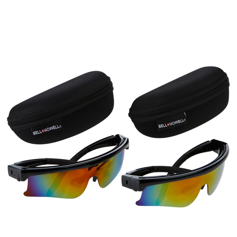 Bell + Howell Self-Cleaning TacGlasses 2-pack with 2 Hard Cases