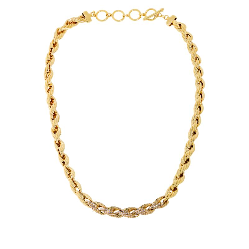 "Bellezza 18-1/4"" Bronze Pavé Accent Rope-Link Necklace"