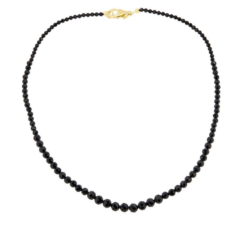 "Bellezza 18"" Black Spinel Graduated Bead Bronze Necklace"