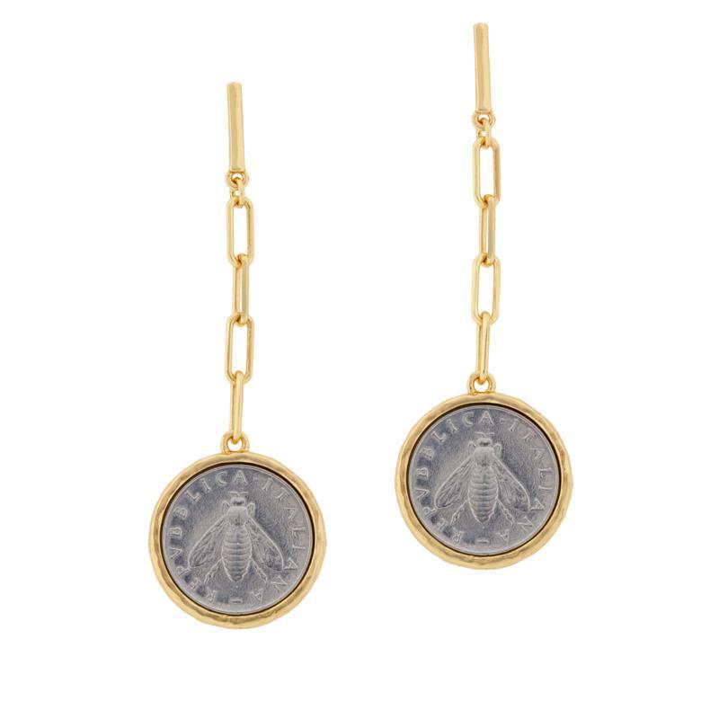 """Bellezza """"Bee"""" Lira Coin Bronze Elongated Oval Link Drop Earrings"""