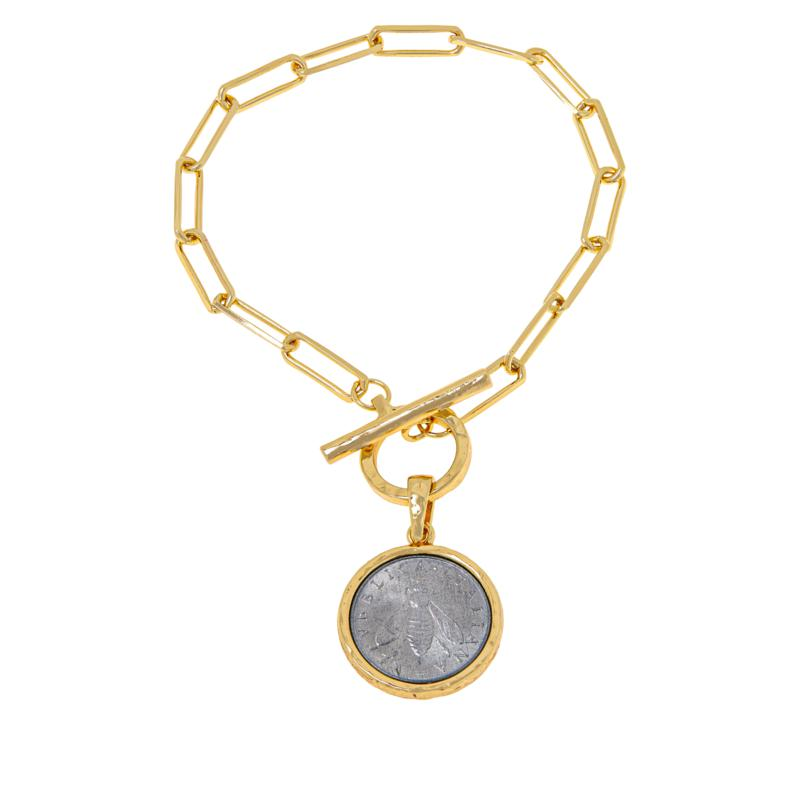 """Bellezza Bee Lira Coin Oval Link 7-1/2"""" Drop Bracelet"""
