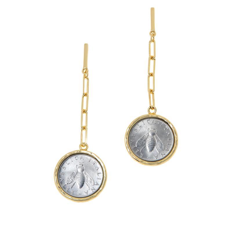 Bellezza Bee Lira Coin Oval Link Drop Earrings