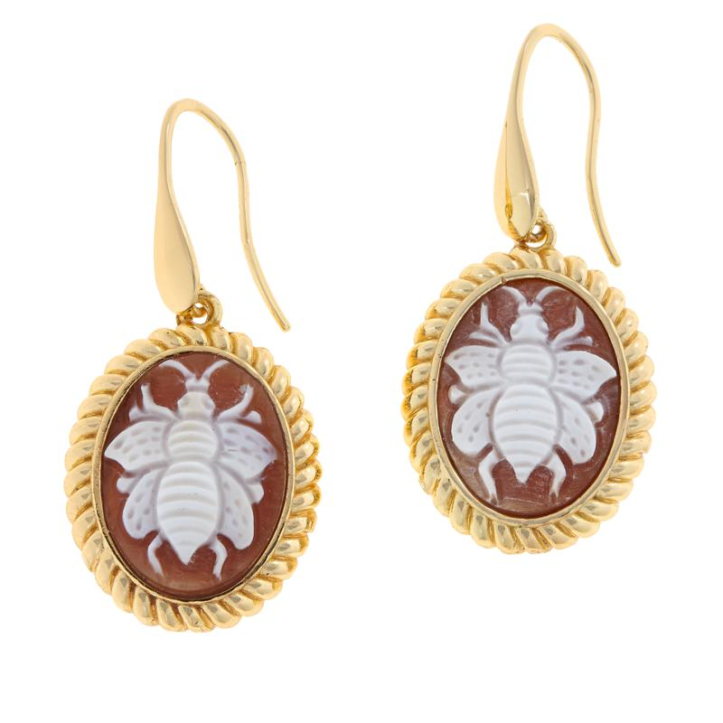 Bellezza Bronze Brown Shell Cameo Oval Bee Drop Earrings