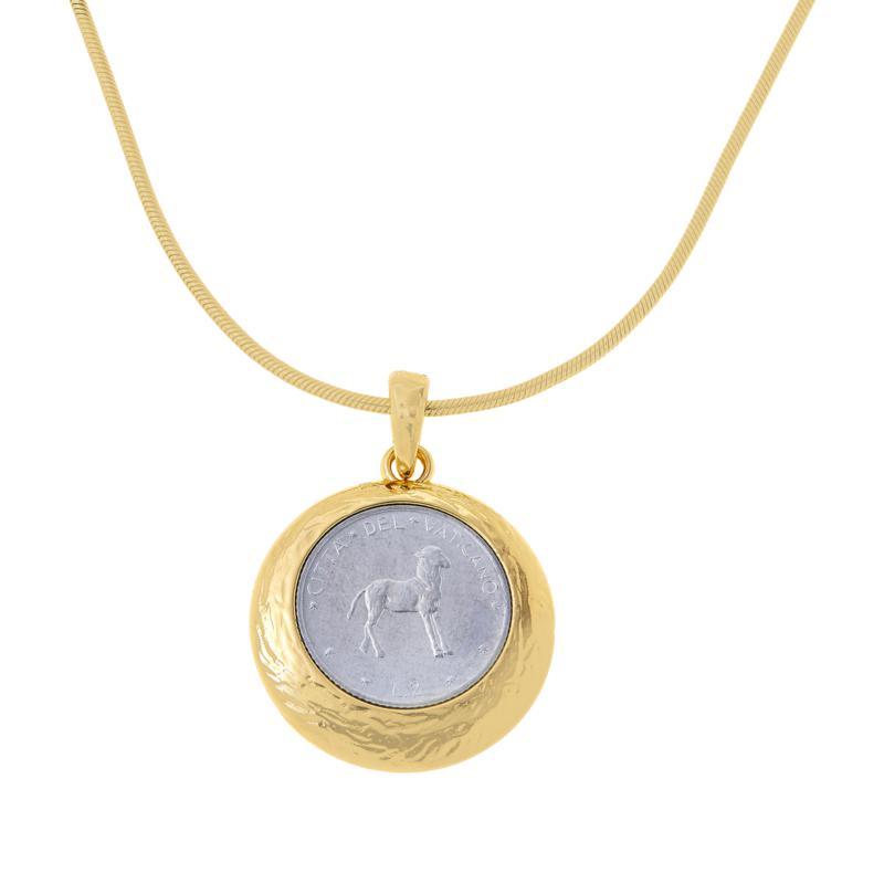Bellezza Lamb of God 2 Lira Coin Bronze Pendant with Chain
