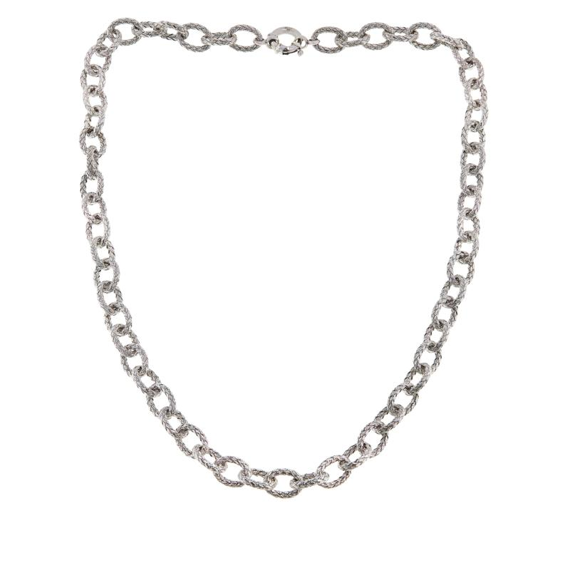 Bellezza Sterling Silver Woven Oval Link Necklace