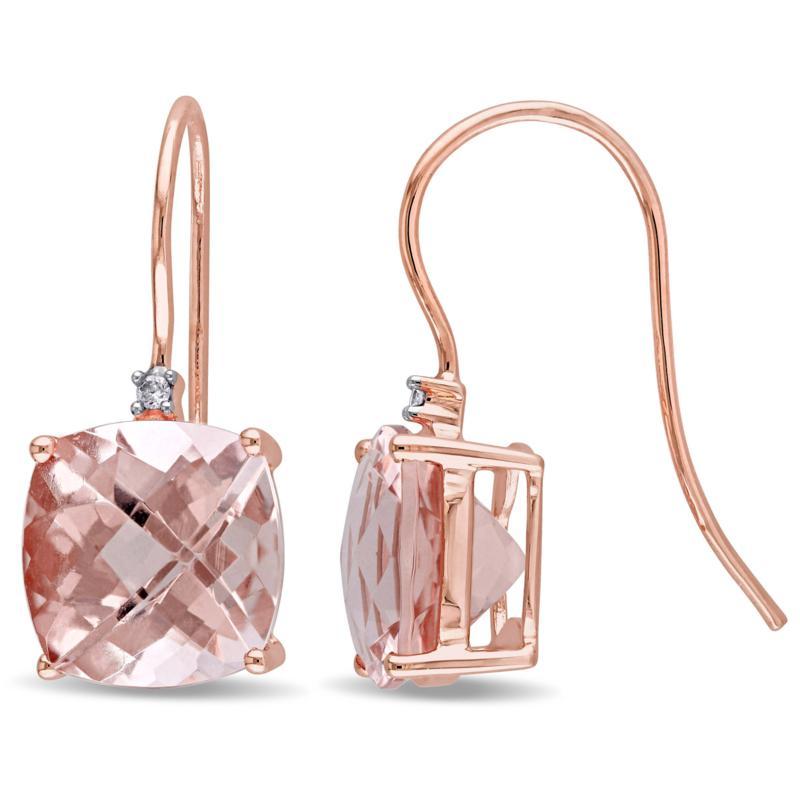Bellini  14K Rose Gold Morganite and Diamond Accent Hook Drop Earrings