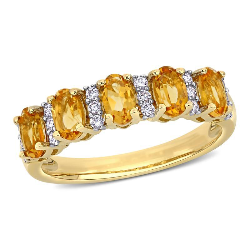Bellini 14K Yellow Gold Oval Citrine and Diamond Semi-Eternity Ring