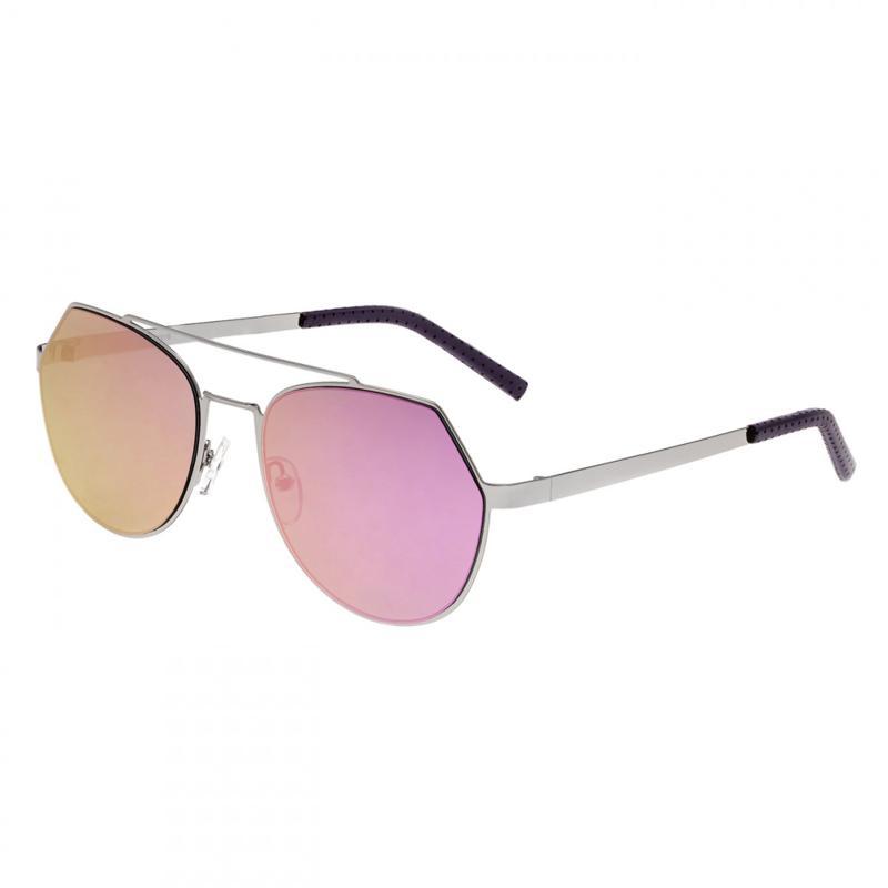 Bertha Hadley Sunglasses - Silver Frames and Fuchsia Lenses
