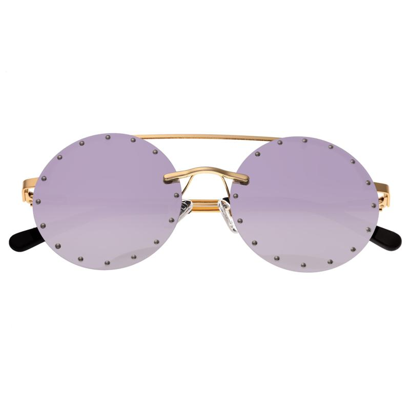 Bertha Harlow Polarized Sunglasses with Gold Frames and Purple Lenses