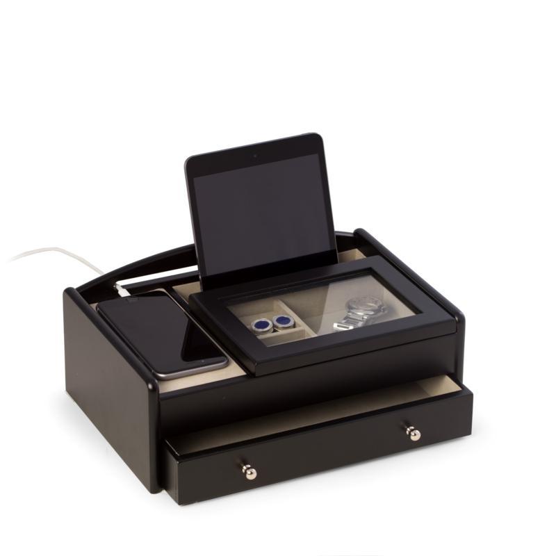 Bey-Berk Matte Black Wood Valet Box