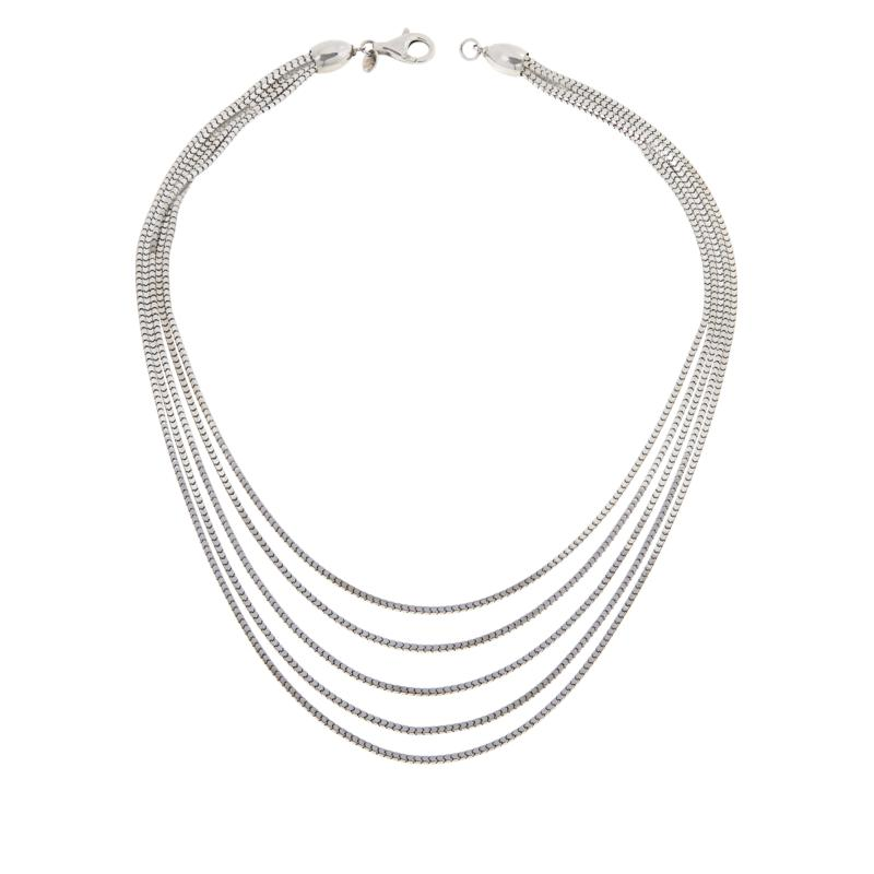 Bianca Milano Sterling Silver 5-Row Graduated Box Chain Necklace
