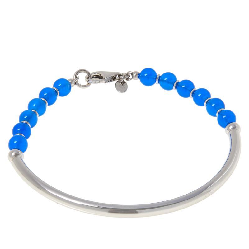 Bianca Milano Sterling Silver Curved Bar Gemstone Bead Bracelet