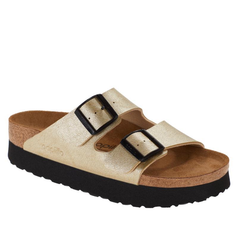 Birkenstock Arizona Metallic Leather Platform Sandal