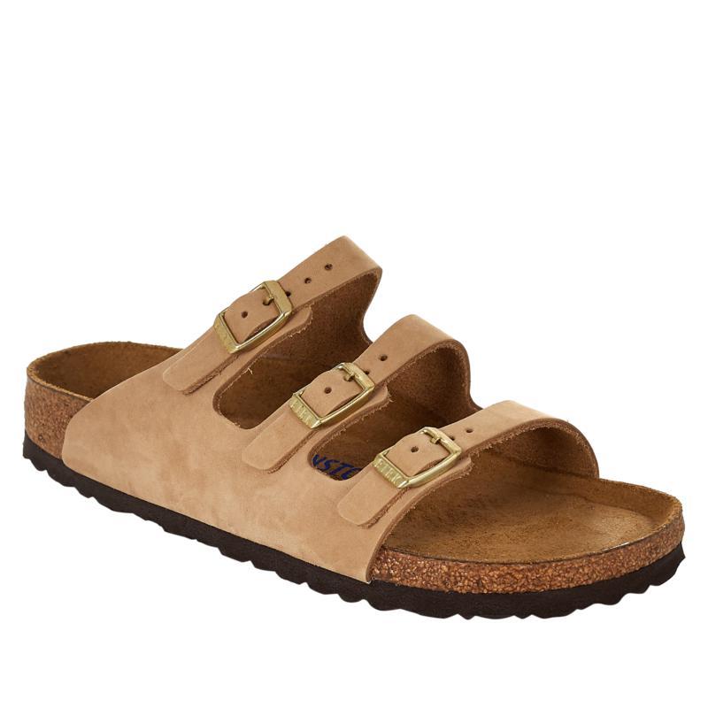 Birkenstock Florida Soft Footbed 3-Strap Nubuck Leather Sandal