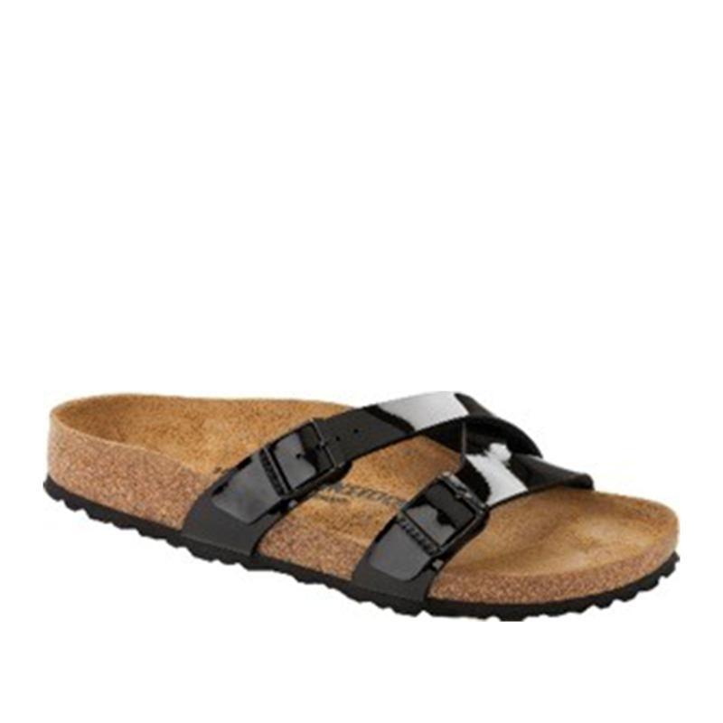 Birkenstock Yao Black Patent Crossover Slide Sandal