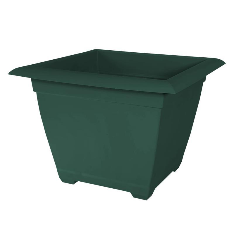 "Bloem Dayton Recycled Ocean Plastic Square Planter 15"" Turtle Green"