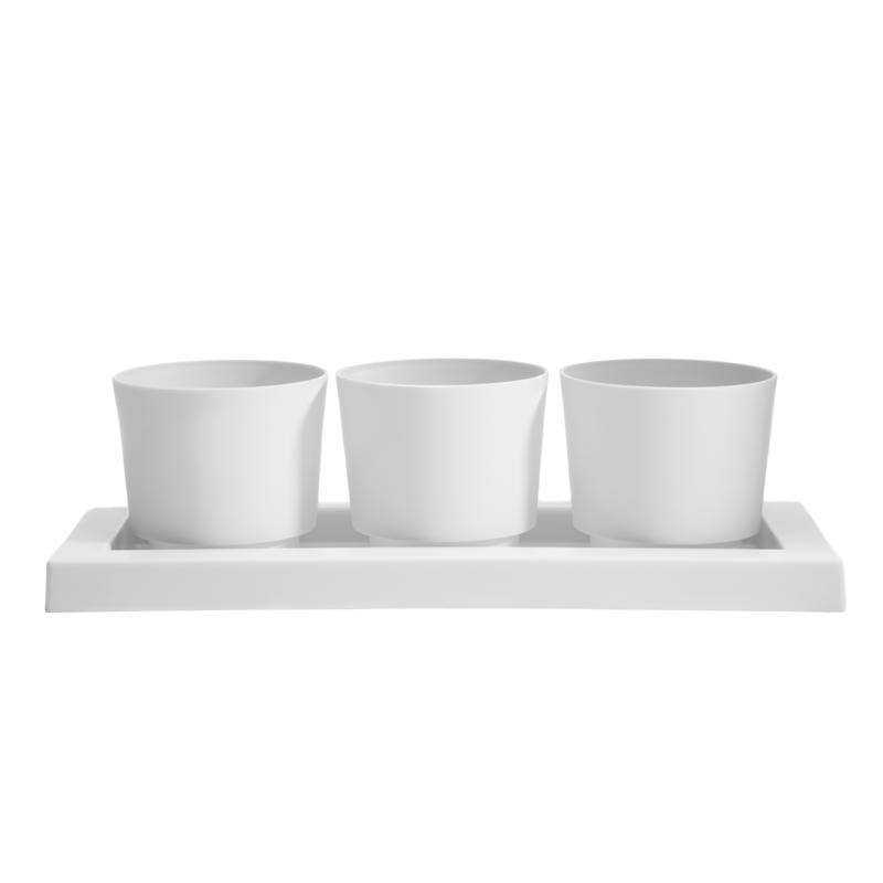 "Bloem Trio Flight 3 Planter Pots w/ Saucer Tray 14"" - Casper White"