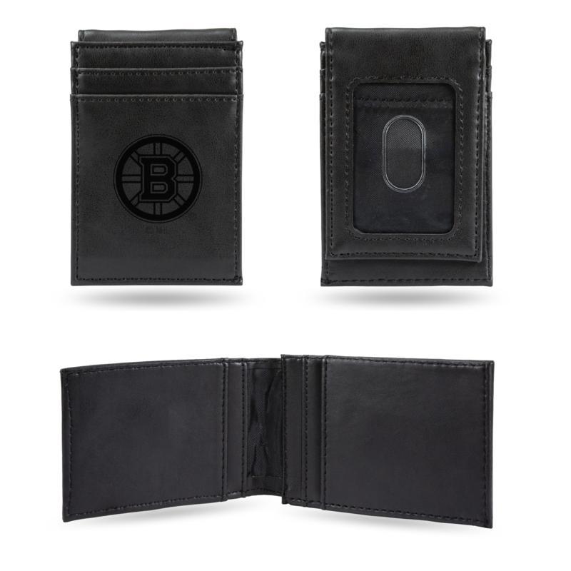 Bruins Laser-Engraved Front Pocket Wallet - Black