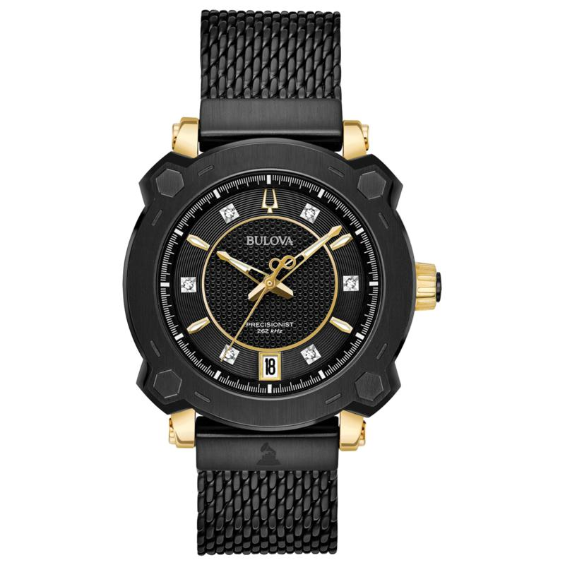 "Bulova Women's ""Precisionist"" GRAMMY® Diamond Black Mesh Watch"