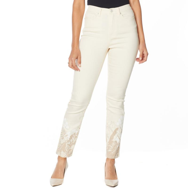 by Diane Gilman Classic Stretch Printed Hem Skinny Jean - Fashion