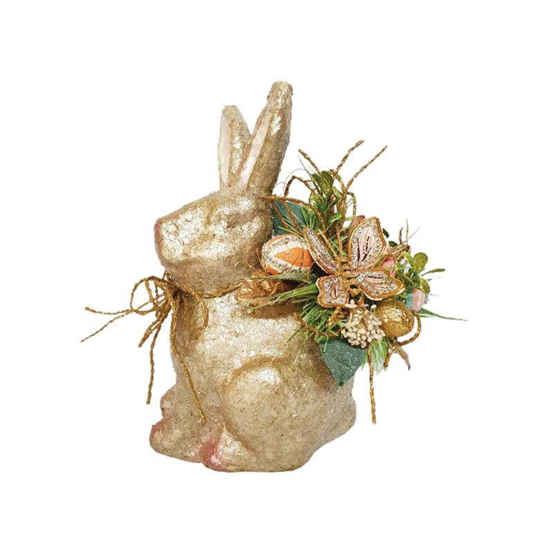 C&F Home Glitter Bunny And Flowers Figurine