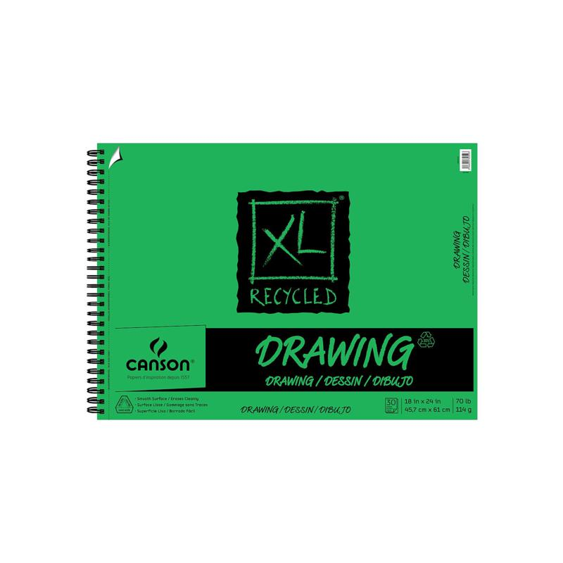 """Canson XL Recycled Drawing Pad 18"""" x 24"""" of 30 Sheets, Wire Bound Top"""
